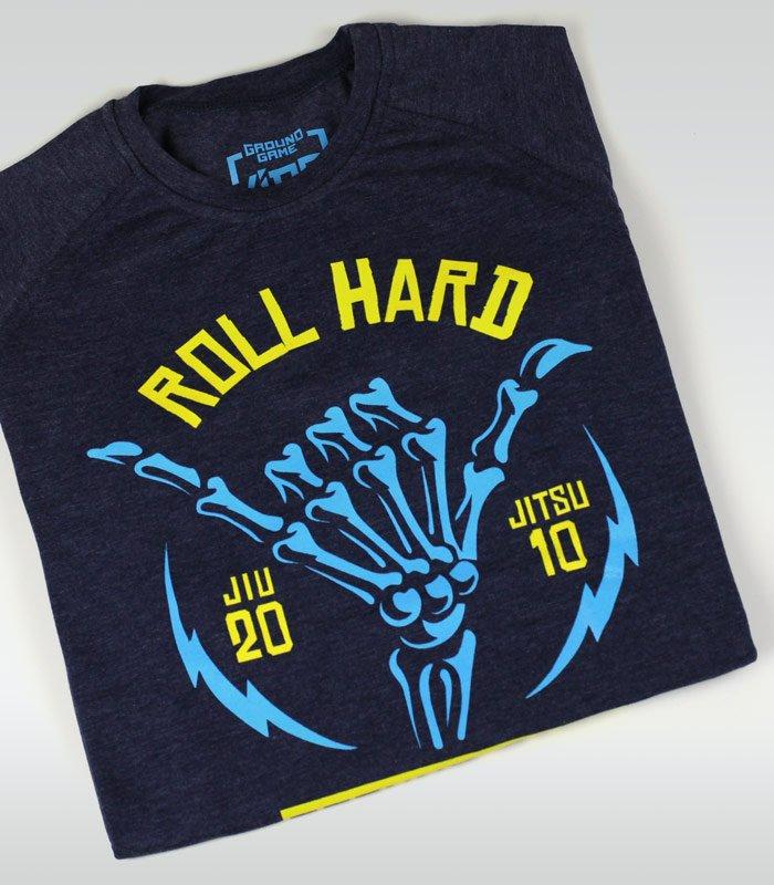 "T-shirt ""Roll Hard Kids"" Navy Blue Melange"