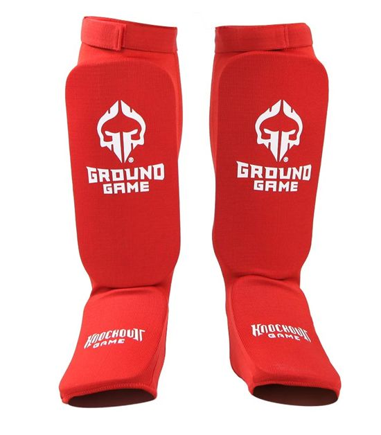 """Elastic Shin Guards """"Knockout Game"""" Red"""